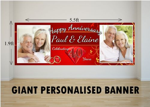 Personalised GIANT Large 40th Ruby Wedding Anniversary PHOTO Poster Banner N30